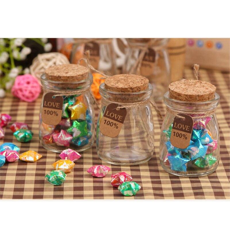 10 Pcs 200ml Jam Jar Wish Glass Bottles Tiny Empty Clear Cork Vials For Wedding Holiday Decoration Barattoli Vetro