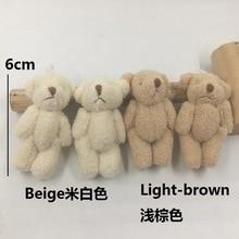 6 cm mini bouquet de pelúcia bonecas de pelúcia articulações urso presente da lembrança do casamento DIY em massa