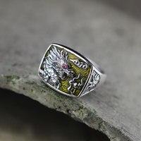 S925 серебряные ювелирные изделия в народном стиле унисекс shaolan полые кольцо дракона