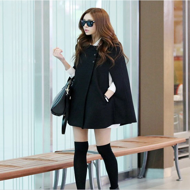 Зима женщины пальто 2016 новый плюс размер Корейский поддельные шерсть Двубортный О-Образным Вырезом плащ куртки женщины длинные пончо casaco feminino
