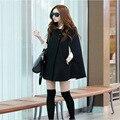 Mulheres casacos de inverno 2016 novos Coreano plus size falso-lã Trespassado O-pescoço poncho manto casacos mulheres longo casaco feminino