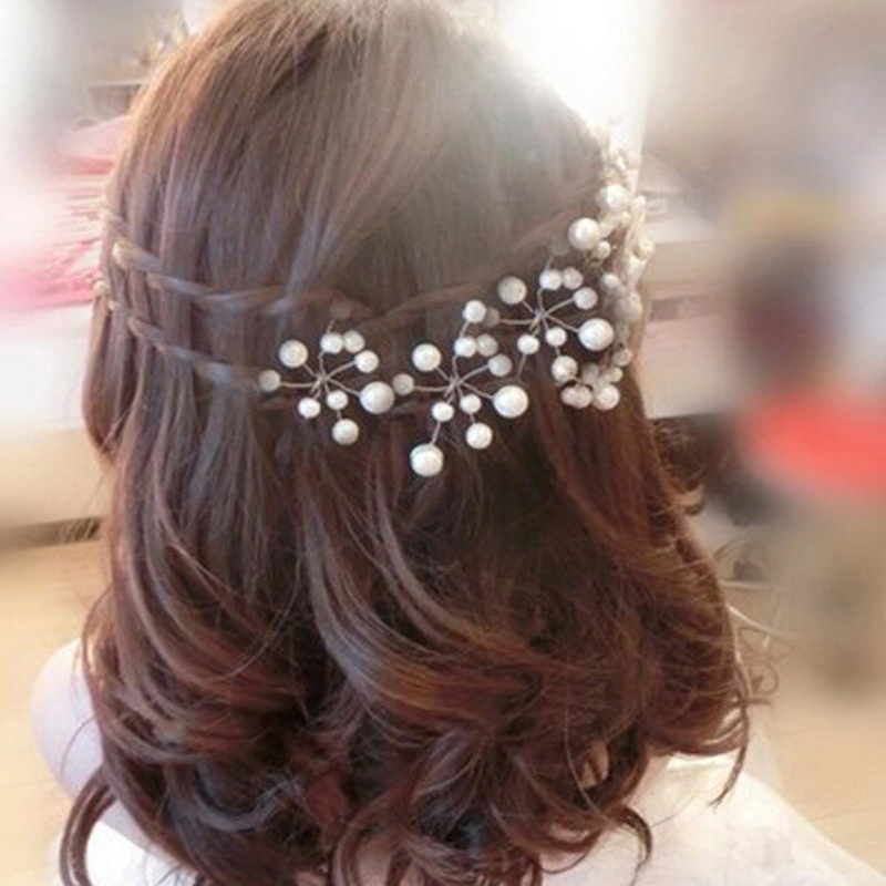 5Pcs Popular Wedding Bridal Pearl Crystal Rhinestone Hair Pins Bridesmaid Clips Tiara Hair Jewelry Hairwear Hair Accessories недорого