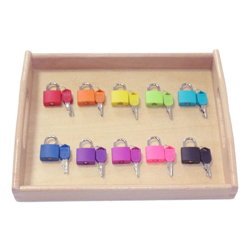 Madera bandeja cerraduras conjunto Juguetes educativos para niños preescolar Montessori Sensorial materiales Juguetes ML1344H