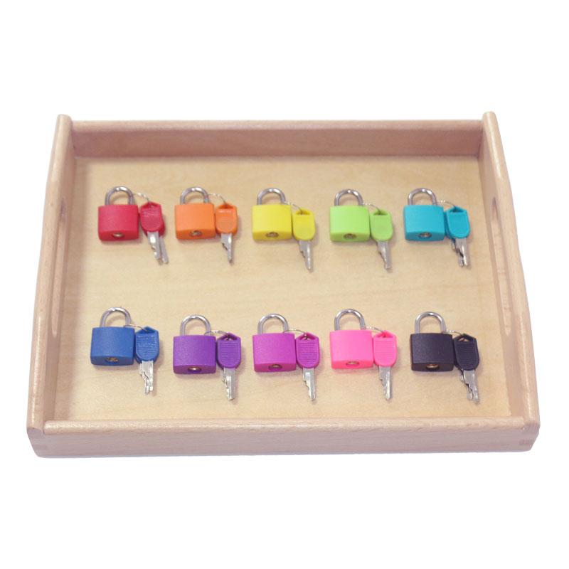 Wooden Montessori Tray Locks Set Educational Sensory Toys For Children Montessori Preschool Sensorial Materials Juguetes ML1344H(China)