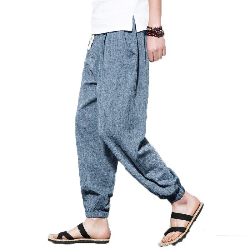 Harem-Pants Joggers Linen Elastic-Waist Thin Loose Plus-Size Casual 5XL Style Solid Men