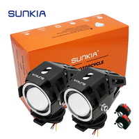 SUNKIA 2Pcs/Pair with Switch 4 Color Motorcycle 3000LM High Low Beam & Flash CREE Chip U7 LED Driving Fog Spot Head Light Lamp