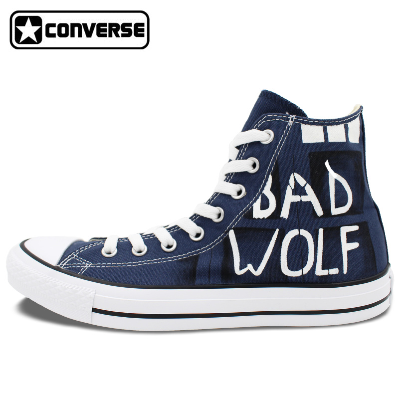 Classic Blue Converse All Star Man Woman Hand Drawn font b Shoes b font Police Box