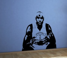 Large BASKETBALL home decor famous player jersey stencil cavaliers cavs cleveland king James Wall Sticker Kids boys bedroom H-3