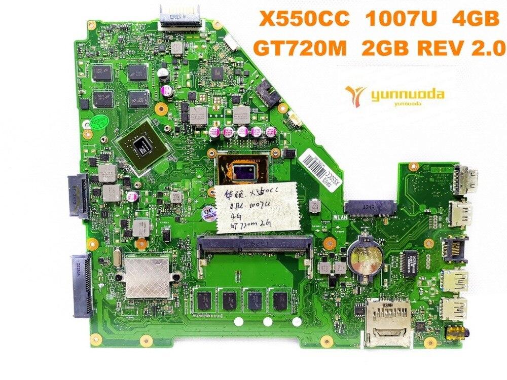 Original for ASUS X550CC  laptop motherboard X550CC  1007U  4GB GT720M  2GB REV 2.0  tested good free shipping Original for ASUS X550CC  laptop motherboard X550CC  1007U  4GB GT720M  2GB REV 2.0  tested good free shipping