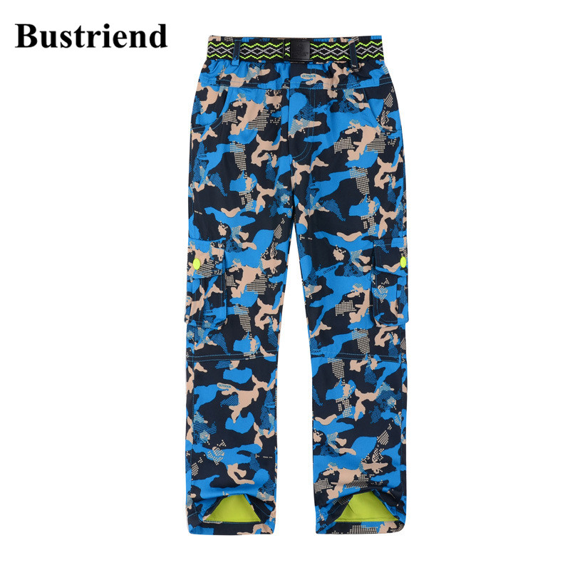 Bustriend Boys Pants 2017 Winter Waterproof Warm Sport Straight Trousers for Kids Boy Children Outdoor Camouflage Clothes boys trackpants kids winter pants children trousers full length boy harem pants children clothing brand boys clothes