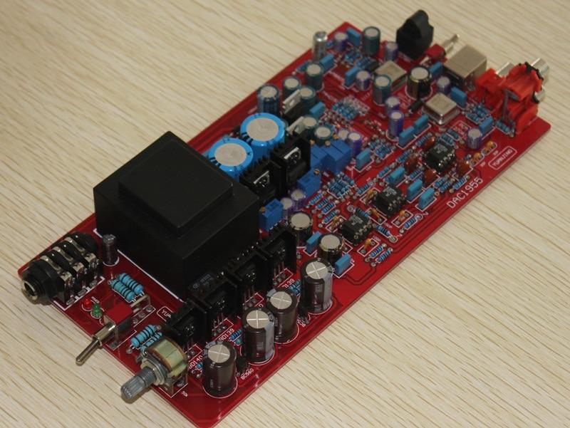 AC 110V or 220V LM317 LM337 AD1955 WM8805 PCM2706 Optical fiber coaxial USB amp DAC decoding board finished lm317 lm337 lf 353 servo rectifier filter power board ac to dc