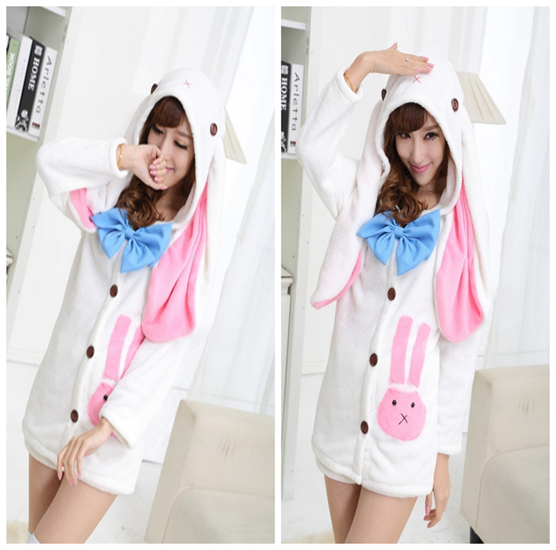 Anime Hatsune Miku Cosplay Costume Kawaii Girl Rabbit Ears Long Sleeve Hoodie Fall Winter Fleece Pajamas