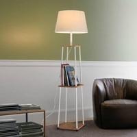 Simple Modern Nordic Creative Vertical Oak Wood Iron Fabric Led E27 Floor Lamp For Bedroom Living