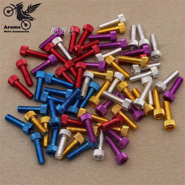 10 PCS set 5 Colors 6mm colorful red gold silver motorbike accessories moto parts Nuts Bolts accessories motorcycle decal screw