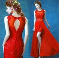 2017 Free shipping Red O-neck short Party  homecoming dress Low high Gowns Grade Graduation Dress Robe de soiree TK725