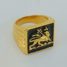 ONE PIECE / Ethiopian Lion Ring Women/Men,African 22k Gold Plated Ethiopia Jewelry Habesha,SIZE: 7-8-9-10 #049306