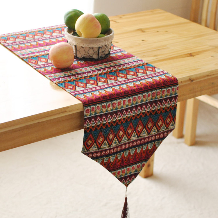 Perfect Southeast Asian Style Fashion Modern Table Runner Colorful Nylon Runner  Table Cloth With Tassels Cutwork Embroidered