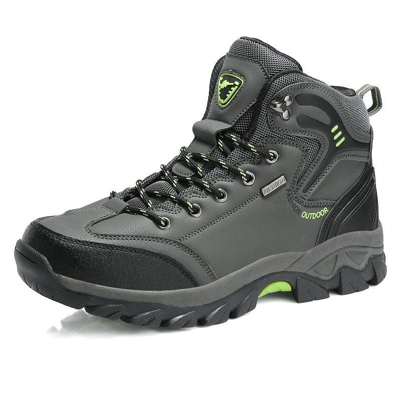 Outdoor hiker sneakers high shoes leather male ankle boots Mans footwear army Comfortable snowshoes non-slip big size 47