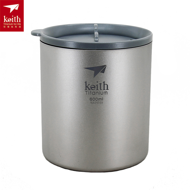 Keith 600ML Titanium Cup Double Walled Camping Mug with Lid Lightweight Outdoor Cup Folding Handle Optional