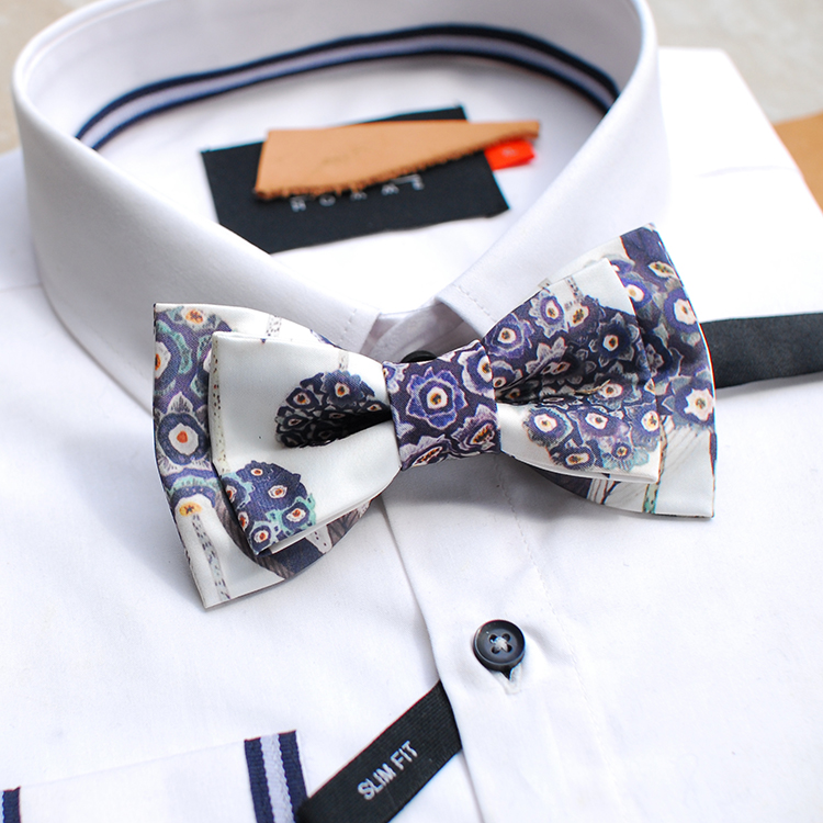 Free shipping new fashion casual men's male design Headwear series Hydrangea bow tie and groom wedding party gift speech man image