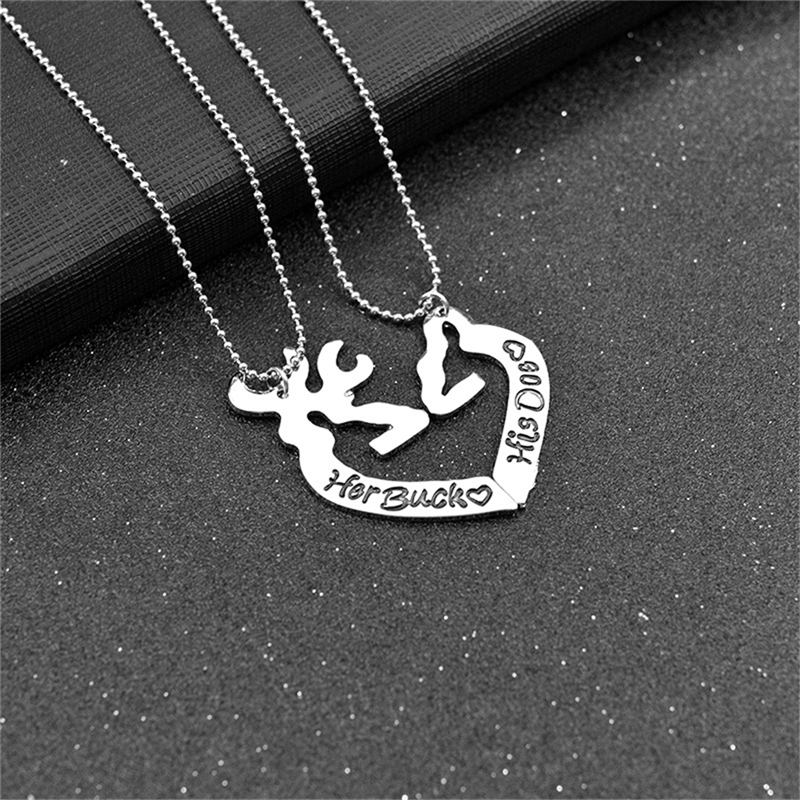Deer Hunting Her Buck His Doe Necklaces Kissing Heart Minimalist Hollow Heart Shape Pendant Couples Gift Lovers JETTING 2 Pcs