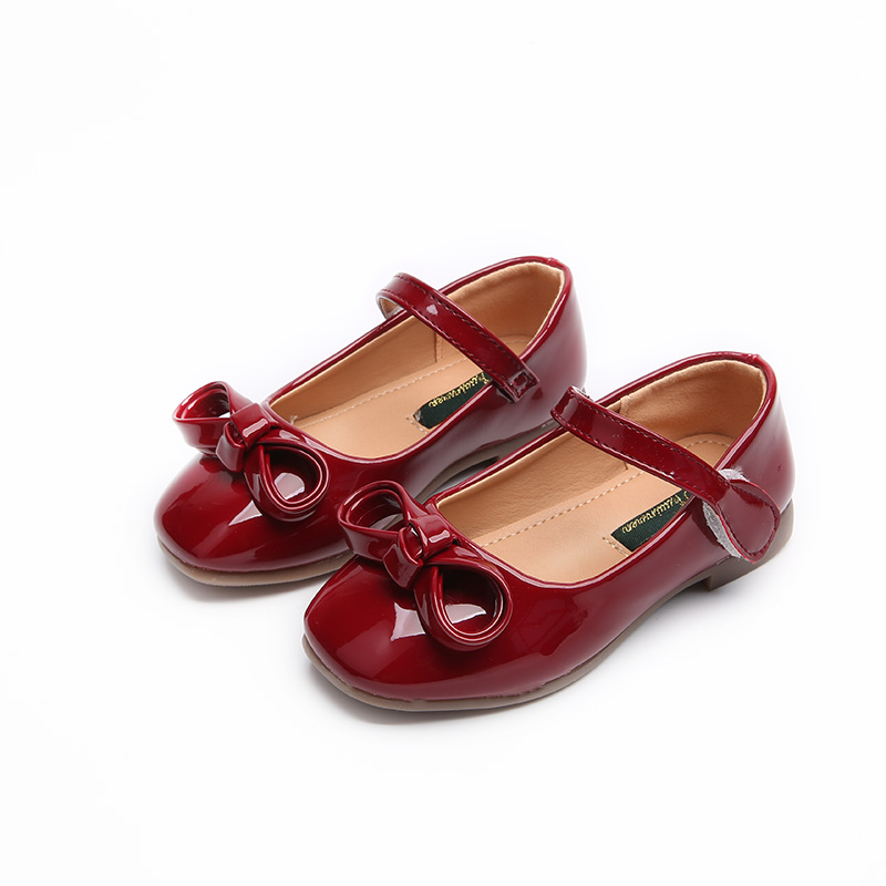 Children Girls Leather Shoes Kids Baby Sweet Princess Shoes With Bow Infant Girl Shallow Mouth Shoes Child Flat Fashion Shoes