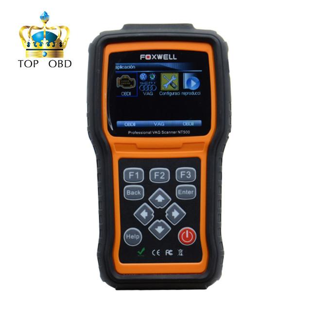 2017 foxwell nt500 vag escáner para vw/audi/seat/skoda todos los sistemas, incluyendo el motor airbag abs un/t obd2 del coche herramienta de diagnóstico de dhl