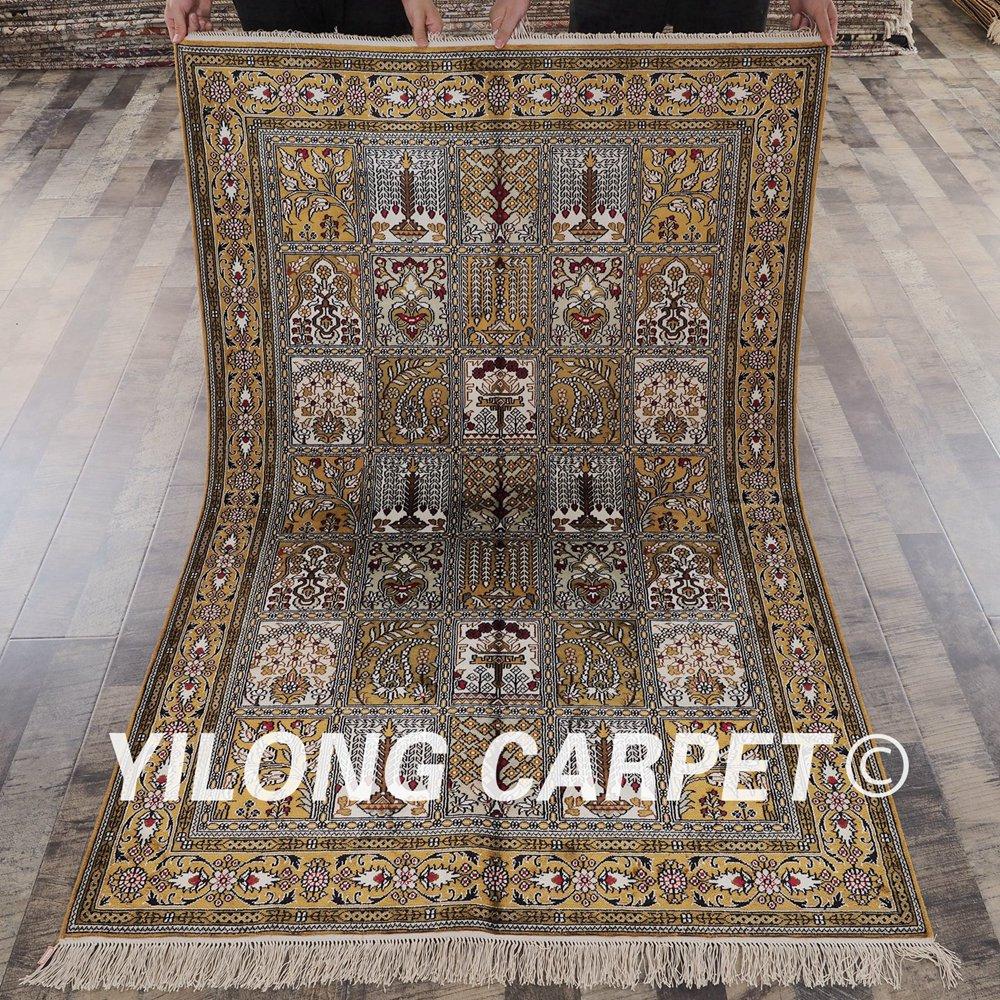 YILONG 4'x6 'tabriz tapis de soie quatre saisons chambre à coucher exquise soie turque tapis (YHW963B4x6)