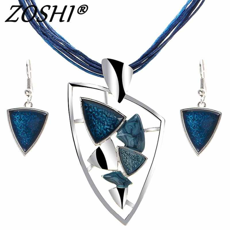 ZOSHI Fashion Jewelry Sets Leather Rope Chian Gem Pendants & Necklaces Drop Earrings For Women Set Wedding Boho Jewelry Sets