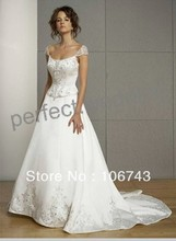 dress free shipping 2013 Fashion Cap Sleeve Beading Embroidery Wedding Dress Prom Party Pageant Custom