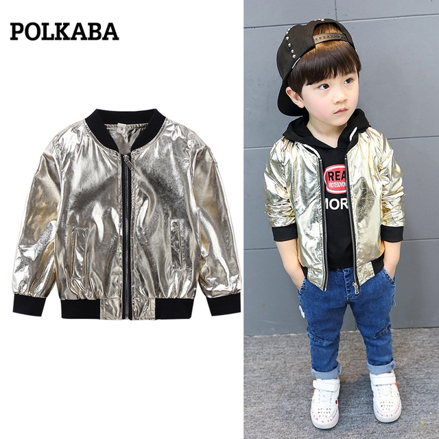 a036f1be989f 1 7 Years Leather Golden Bomber Jacket Babies Clothes for Baby Boy ...