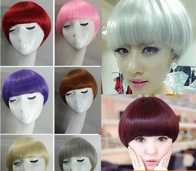 Color The Mushroom Head Fashion Personality Neat Bang Girl Hair