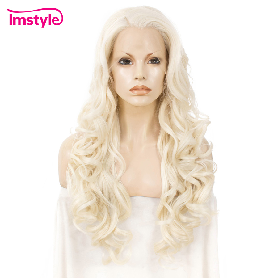 Imstyle Blonde Synthetic Lace Front Wig Long Wavy Wigs For Women Heat Resistant Fiber Natural Hairline