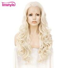 Imstyle блонд, синтетический парик на кружеве, длинные волнистые парики для женщин, термостойкие волокна, натуральные волосы, парик на шнурке для косплея