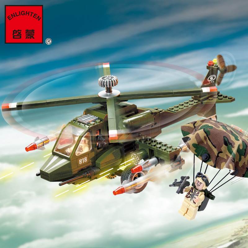 Enlighten 818 Modern Military Series Helicopter Combat Zones SWAT Model Building Blocks Figures DIY Educational Kids Toy ...