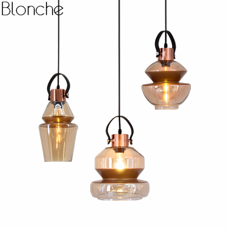 Nordic Glass Pendant Lights American Vintage Led Lamp Loft Industrial Hanglamp for Dining Room Kitchen Lighting Home Art Decor loft nordic vintage industrial decor black hanglamp hanging design fixtures lamp pendant lights for dining room kitchen lighting