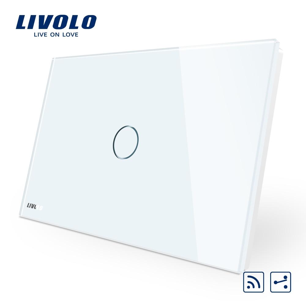 Manufacturer Livolo Ivory Crystal Glass Panel Smart Switc US AU Standard C901SR 11 2 Way Wireless