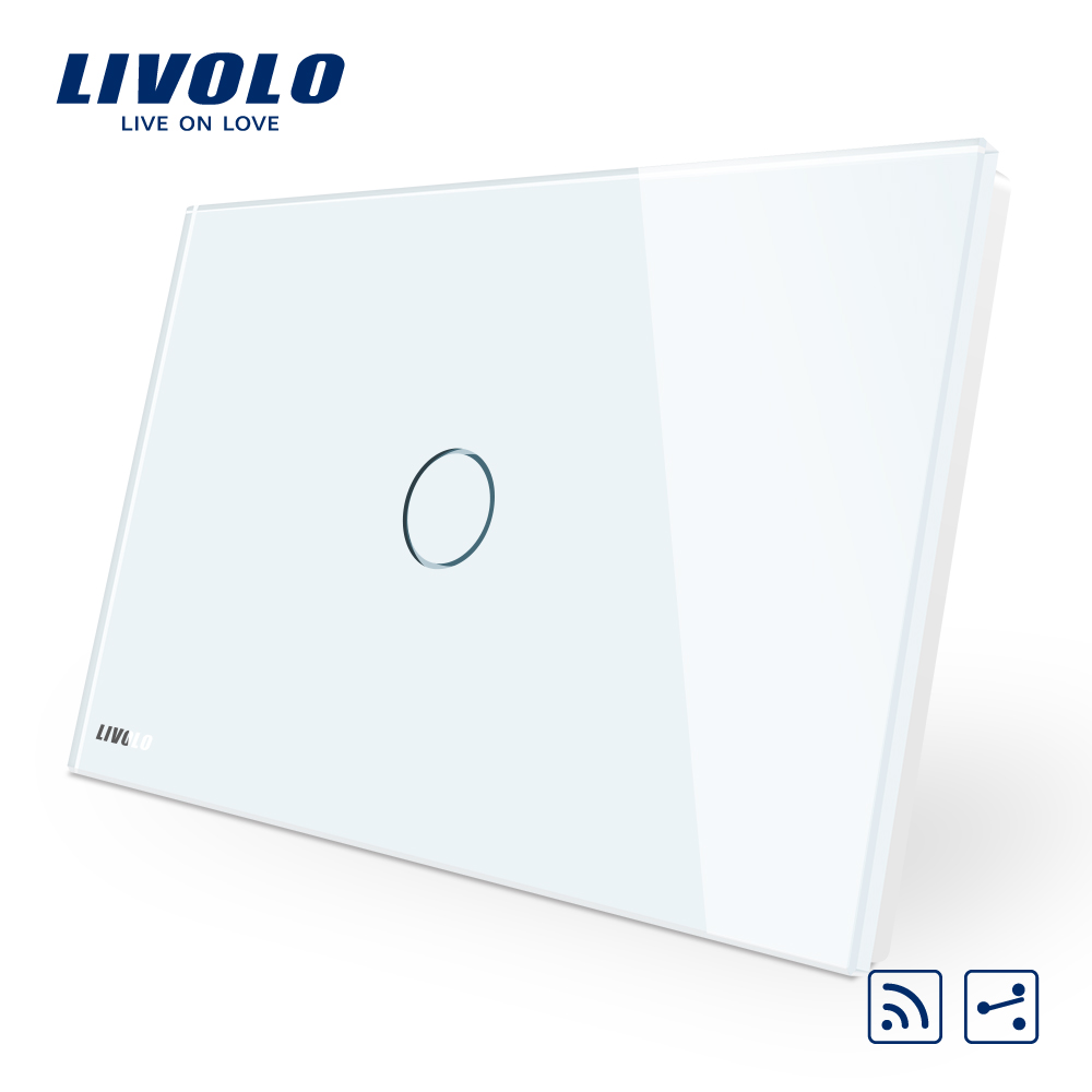 Manufacturer Livolo Crystal Glass Panel Smart Switch AU/US standard,2Way Wireless Remote Home Light Switch,parallel cross switch-in Switches from Lights & Lighting    1
