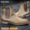 Acevedo Brand New arrival 2017 men boots chelsea boots male vintage fashion denim boots motorcycle boots male