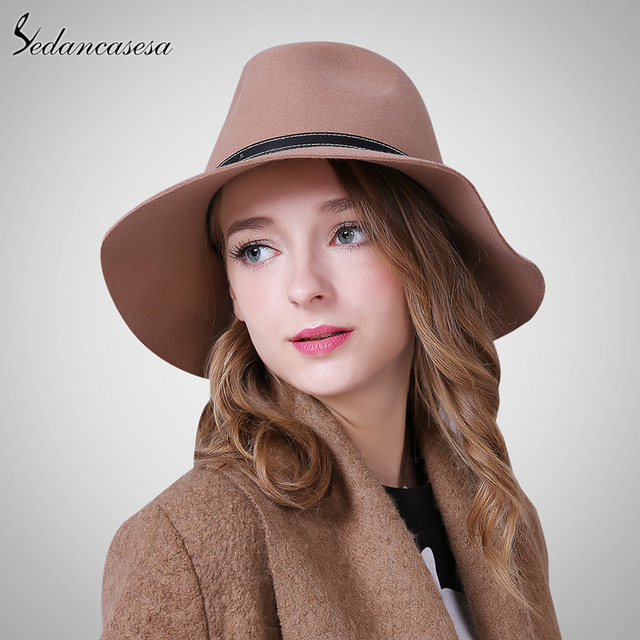 Sedancasesa New Australia Wool Felt Hat England women Fedora Hat wide brim  hats for elegant lady hat Christmas GIfts FW027059 b07008489a08
