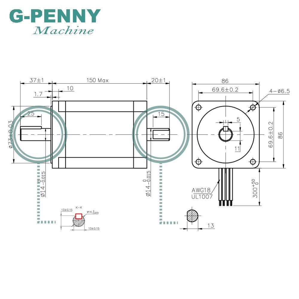 NEMA 34 Double arbre CNC moteur pas à pas 86X150mm 12 N. m 6A nema34 moteur pas à pas 1700Oz-in pour CNC machine de gravure imprimante 3D - 2