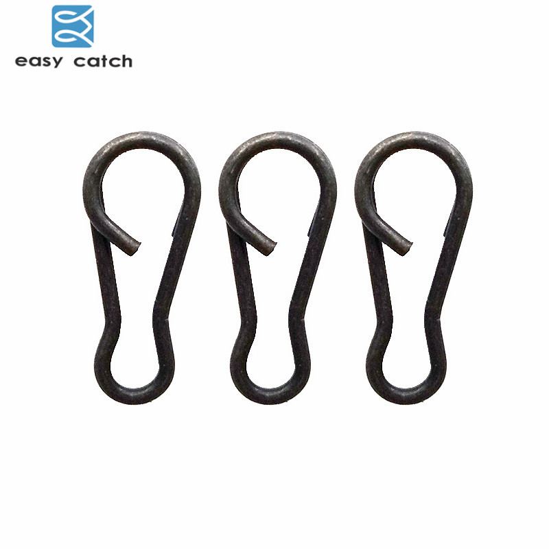 Easy Catch 20pcs Matte Black Carp Fishing Snaps Connector Carp Rigs Speed Links Single Hook B Type Snaps Carp Fishing Tackle