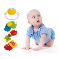 Infant Baby Rotatable Teethers Set Plastic Colorful Bead Clip Holder Pacifier Newborn Teether With Light And