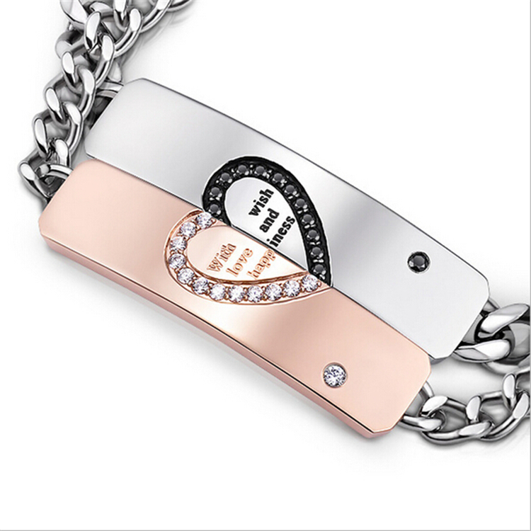 Fashion Jewelry Engraved Stainless Steel Couple Inlaid Imitation Diamonds Link Bracelets for Lovers