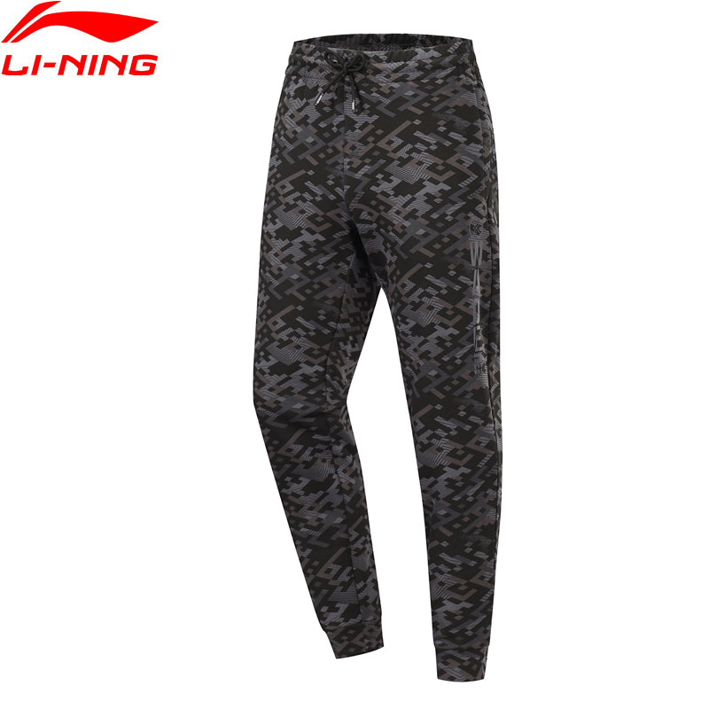 Li-Ning Men Wade Sweat Pants Printing 82% Cotton 18% Polyester Comfort Pockets Trousers LiNing Sports Pants AKLP319 JAS19(China)