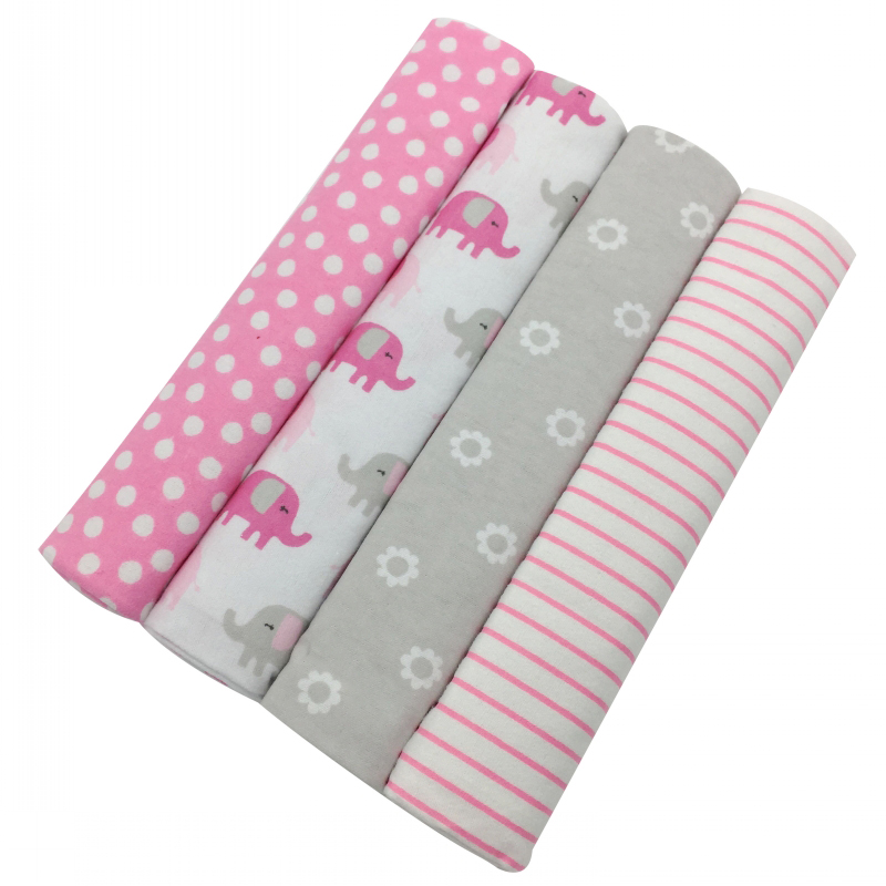 Baby Blanket 4pcs/pack 100x76cm 100%cotton Flannel Baby Blanket Receiving Newborn Colorful Cobertor Baby Bedsheet