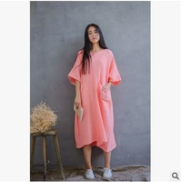 In the spring of 2016 new products listed, original design brand quality loose big yards cotton linen women's dress