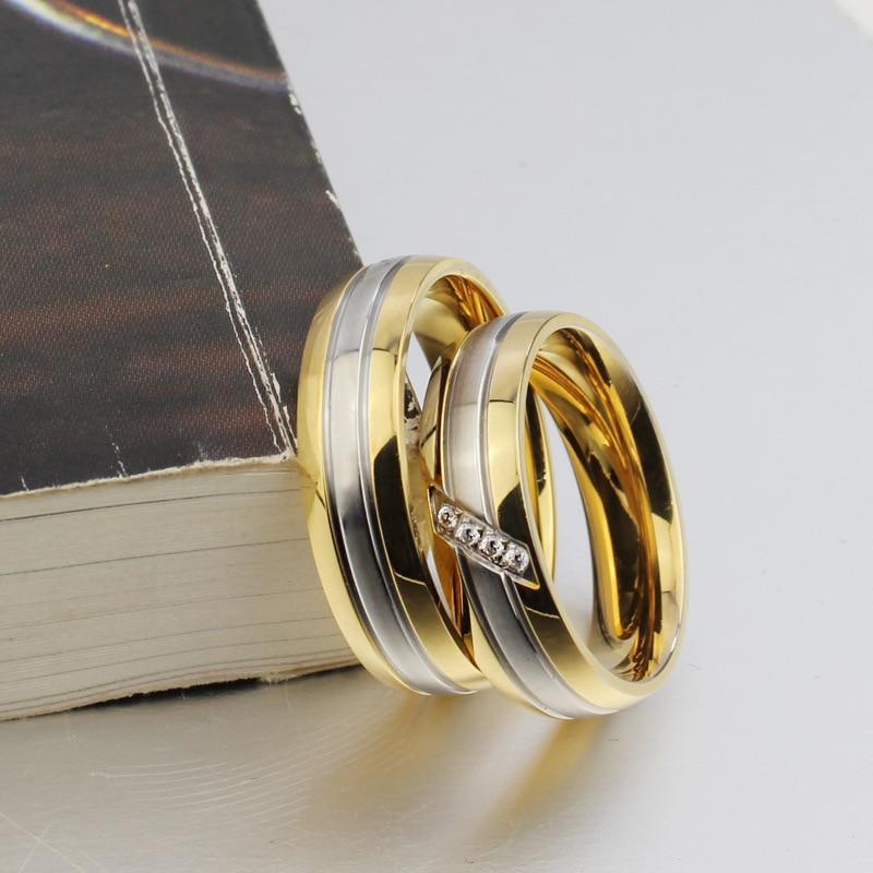 New 316l Stainless Steel Zirconia Couple Rings For Women Men Gold