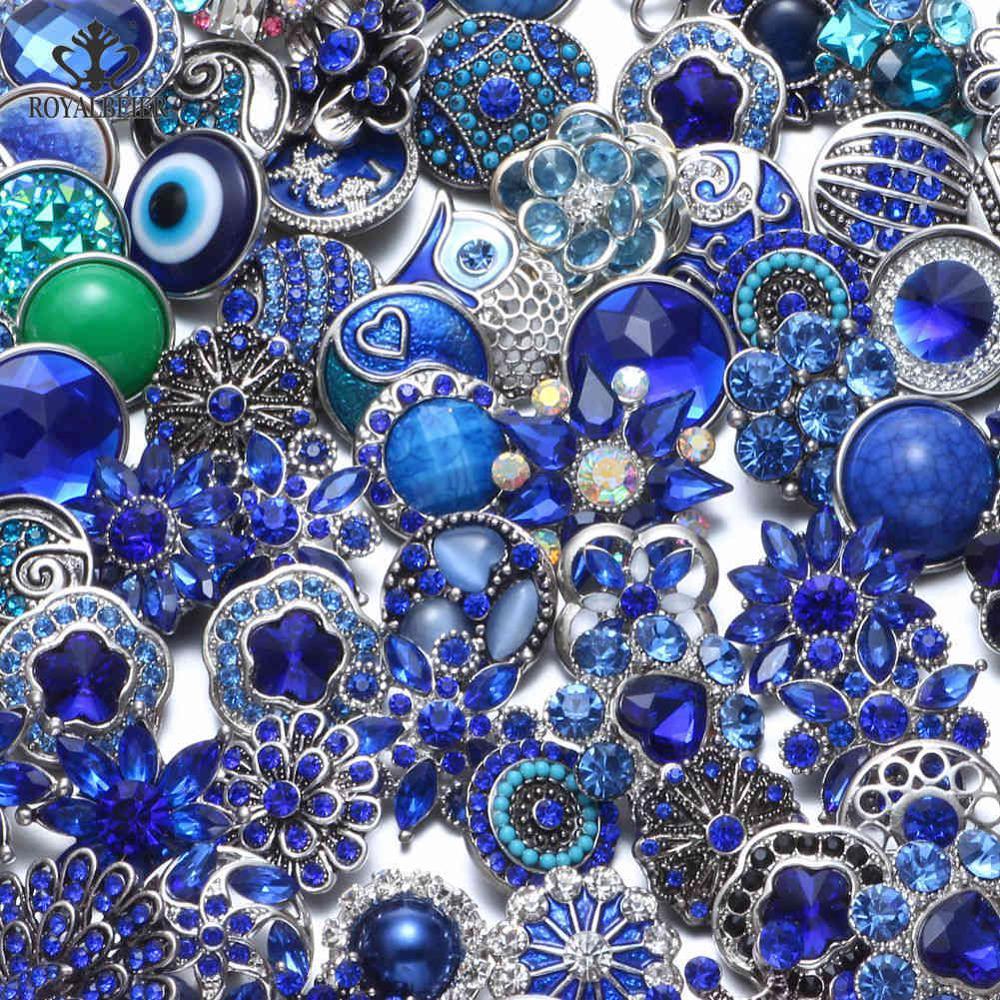 50 шт./лот, смешанный металл и стекло, 18 мм, кнопки, ювелирное изделие, сделай сам, стразы, кнопки, подвески для кнопки сделай сам, браслет, ювелирное изделие - Окраска металла: Top Dark Blue Series