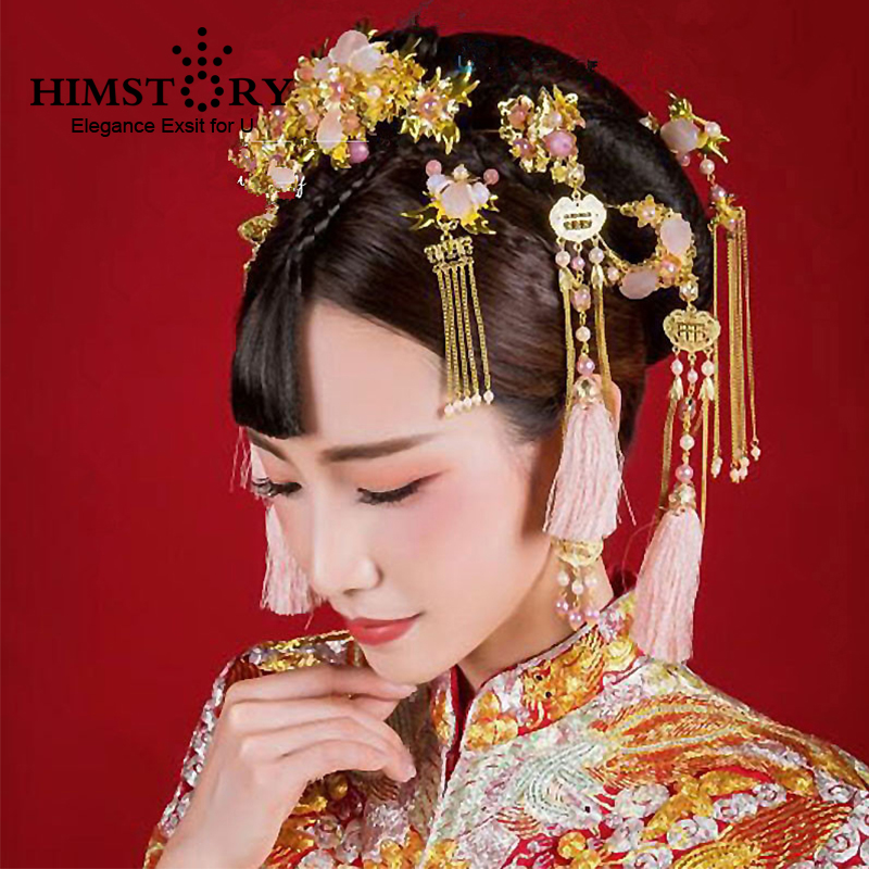 HIMSTORY Bride Hair Bridal-Hair-Accessory Combs Tiaras Tassel Traditional Wedding Gold-Color